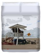 Miami Beach Lifeguard Station II Abstract Duvet Cover