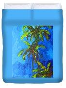 Miami Beach Palm Trees In A Blue Sky Duvet Cover by Patricia Awapara