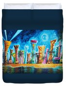 Miami City South Beach Original Painting Tropical Cityscape Art Miami Night Life By Madart Absolut X Duvet Cover