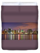 Miami Skyline At Dusk Sunset Panorama Duvet Cover