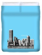 Miami Skyline - Sky Blue Duvet Cover