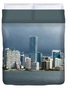 Miami Skyline Stormy Clouds Duvet Cover