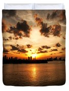Miami Skyline Sunset Duvet Cover