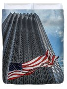 Miami's Financial Center And Old Glory Duvet Cover by Rene Triay Photography