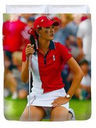 Michelle Wie Of The Usa Solhiem Cup Reacts After Missing A Putt Duvet Cover