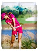Michelle Wie Plays A Shot On The 6th Hole Duvet Cover
