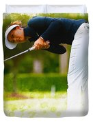 Michelle Wie  Putt On The Tenth Green Duvet Cover