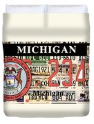 Michigan License Plate Duvet Cover