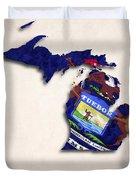 Michigan Map Art With Flag Design Duvet Cover