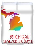 Michigan State Map Collection 2 Duvet Cover