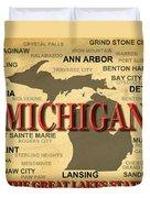 Michigan State Pride Map Silhouette  Duvet Cover