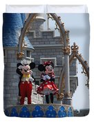 Mickey And Minnie In Living Color Duvet Cover