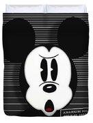 Mickey Mouse Disney Mug Shot Duvet Cover by Tony Rubino