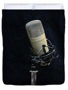 Microphone On Black Duvet Cover