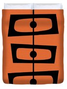 Mid Century Shapes On Orange Duvet Cover
