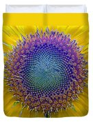 Middle Of Sunflower Close-up Duvet Cover
