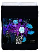 Midnight Callas And Orchids Abstract Duvet Cover