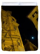 Midnight Roman Facades In Yellow  Duvet Cover