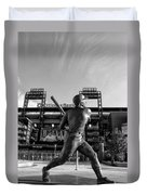 Mike Schmidt Statue In Black And White Duvet Cover by Bill Cannon