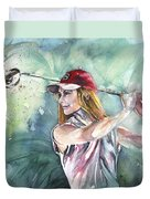 Miki Self Portrait Golfing Duvet Cover