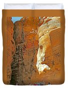 Mile-long Canyon Leads Through 600 Foot Deep Gorge To The Treasury In Petra-jordan Duvet Cover