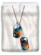 Military Art Dog Tags - Honor - By Sharon Cummings Duvet Cover