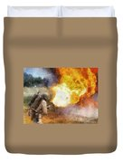 Military Flame Thrower Photo Art 01 Duvet Cover