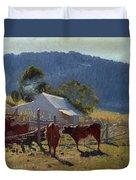 Milking Time. Araluen Valley Duvet Cover