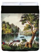 Mill Cove Lake Duvet Cover by Currier and Ives