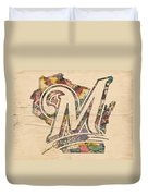 Milwaukee Brewers Poster Art Duvet Cover