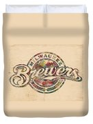 Milwaukee Brewers Poster Vintage Duvet Cover