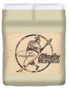 Milwaukee Brewers Vintage Art Duvet Cover