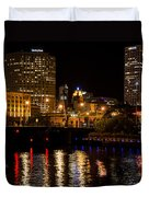 Milwaukee River And Downtown Skyline Duvet Cover