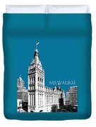 Milwaukee Skyline City Hall - Steel Duvet Cover