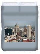 Milwaukee Wisconsin Skyline Aerial Duvet Cover