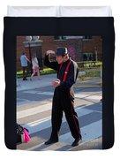 Mime Performer On The Street Duvet Cover