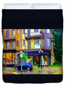 Mimi And Coco Clothing Boutique Laurier In The Rain  Plateau Montreal City Scenes Carole Spandau Art Duvet Cover