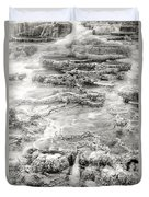 Minerva Springs In Black And White Yellowstone National Park Wyoming Duvet Cover