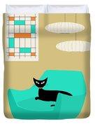 Mini Abstract With Aqua Chair Duvet Cover