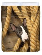 Miniature Bull Terrier Puppy Duvet Cover
