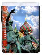Minin And Pozharsky Monument In Moscow Duvet Cover by Oleksiy Maksymenko