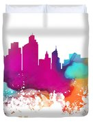 Minneapolis City Colored Skyline Duvet Cover