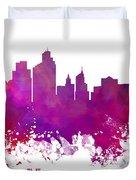 Minneapolis City Skyline Purple Duvet Cover