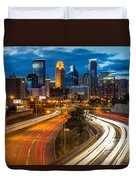 Minneapolis Light Trails Duvet Cover