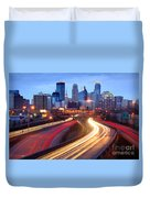 Minneapolis Skyline At Dusk Early Evening Duvet Cover