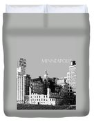 Minneapolis Skyline Mill City Museum - Silver Duvet Cover