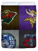 Minneapolis Sports Fan Recycled Vintage Minnesota License Plate Art Wild Vikings Timberwolves Twins Duvet Cover