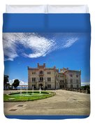 Miramare Castle With Fountain Duvet Cover