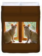 Mirrored Cats Duvet Cover