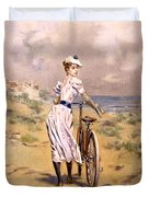 Miss Bicycle 1894 Duvet Cover